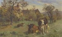 kuhherde auf sommerlicher weide by aymar (aimard alexandre) pezant