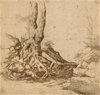 tree roots with landscape verso: angel studies and dragon's head by anonymous-italian (16)