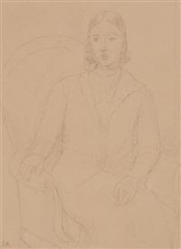 bildnis einer dame in fauteuil sitzend by rené (victor) auberjonois