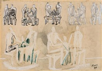 seven studies for family group by henry moore