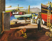 boatyard in sausalito, 1935 by herman roderick volz