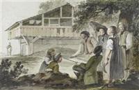 der zeichnende heinrich freudweiler vor altem bauernhaus, von einer gruppe neugieriger bauern und zwei kindern umringt by heinrich freudweiler