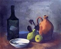 stilleben mit flasche, weißer schale, braunem krug und zwei birnen by ernst stadelmann