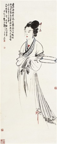 执扇仕女图 maid holding fan by liu bonian