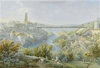 ansicht von fribourg mit der alten zähringerbrücke by mathias gabriel lory
