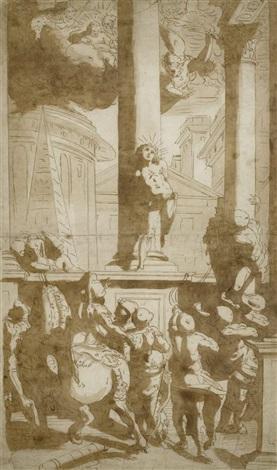 das martyrium des hl sebastian by luca cambiaso