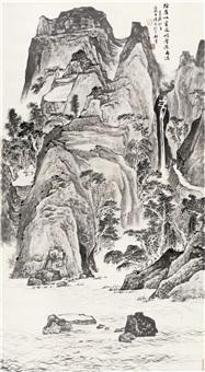 阴崖飞瀑图 (waterfall) by luo buzhen
