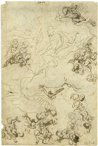 doppelseitiges studienblatt zu christus in der glorie umgeben von putten rectoverso by sir anthony van dyck