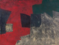 composition (rouge, gris, noir), (60-72) by serge poliakoff