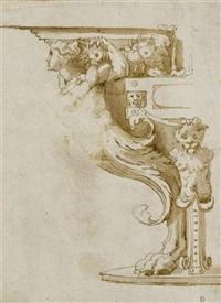 studie zu einem tischfuss. verso: studie zu zwei karyatiden (beschnitten) (study) by perino del vaga
