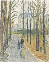 französische allee mit spazierenden by alexandre rochat