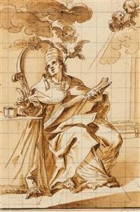 der kirchenvater papst gregor der grosse schreibt die botschaften des heiligen geists nieder by jacopo alessandro calvi