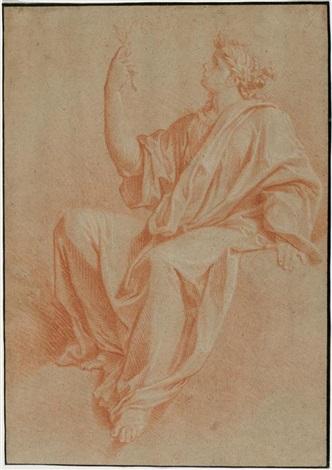 sitzende frau mit drapiertem umhang einen lorbeerzweig haltend by simon vouet