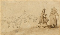 three ladies on a hill, with a waiting coach in the background by anonymous-flemish (17)