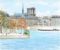 l'ile st. louis et 'notre dame' sur l'ile de la cite (sold with 342b; set of 2) by h. rolf rafflewski