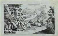 pastoralen mit höfisch gekleideten paaren (2 works) by johann christian jung