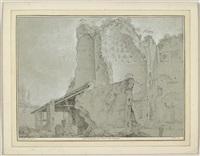 lot von zwei ansichten: 1. vue du temple du soleil & de la lune 2. vue d'une partie du mont palatin & du temple de romulus (2 works) by jean barbault