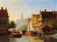 gracht in haarlem by john frederik hulk the younger