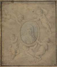 four putti holding an oval portrait of a woman (the holy virgin?) by peeter van avont