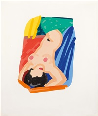 study for nude lying on back by tom wesselmann