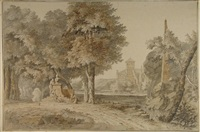 arcadian landscape with people around a statue, a large villa in the background by johannes de bosch
