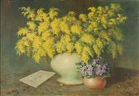 stillleben mit mimosen by mariano d' amora