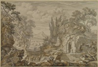 figures in an arcadian landscape with a ruin in the foreground by johannes de bosch