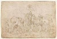 triumph der galatea (+ herkules im kampf mit der hydra, verso) by pierre brebiette