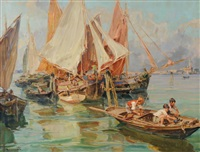 trabaccoli in laguna, venezia by angelo brombo