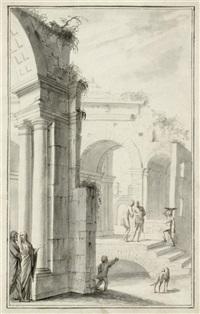 antike monumente, im vordergrund zwei personen im gespräch an einem säulenportal by jurriaan andriessen