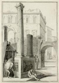 vor einem antiken säulenmonument sitzender mann, im hintergrund palazzi by jurriaan andriessen