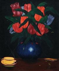 stilleben mit tulpenstrauss, kaffeetasse und büchlein by camille bombois