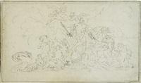 neptun mit seinem gefolge, die wogen besänftigend by raymond de lafage