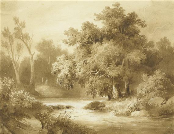flusslandschaft mit bäumen by alexandre calame