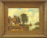 niederländische kanallandschaft by j.c. corver