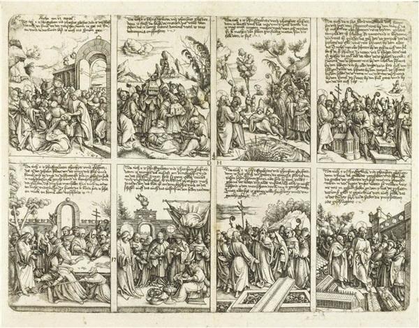 drei alte weiber verprügeln den teufel (+ 2 others; 3 works, various sizes) by daniel hopfer