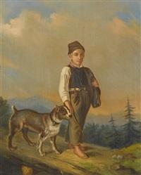 junge mit hund in berglandschaft by j. holzer