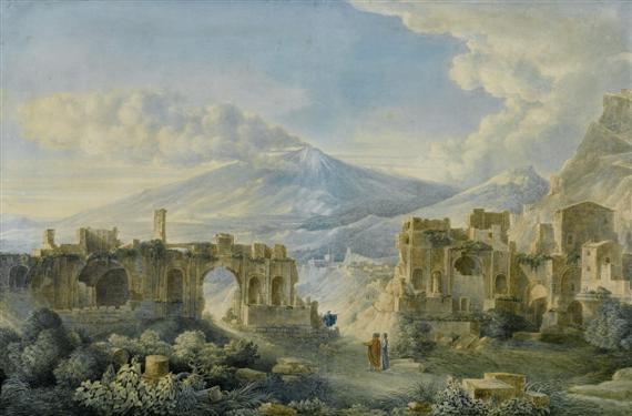 das antike theater von taormina mit blick auf den ätna by louis jean desprez