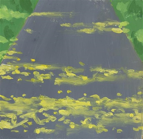 late afternoon sunlight on road by alex katz