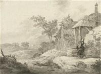 altes gehöft mit bauernmädchen an einem ziehbrunnen by jacob van der smissen