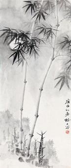 墨竹 镜心 水墨纸本 by liu zigu