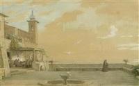 kloster über weiter landschaft mit mönchen auf einer terrasse by alfred van (jacques) muyden
