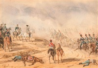 angriff der französischen truppenverbände (+ napoleon zu pferd und zug der kavallerie; 2 works) by theodore jung