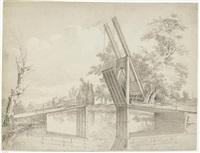 holländische landschaft mit ziehbrücke über einen kanal by steven goble