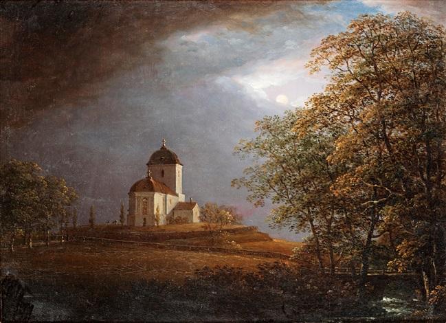 utsikt mot andrarums kyrka by carl johan fahlcrantz
