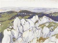 sommerliche juralandschaft mit felsen und wäldern by françois louis jacques
