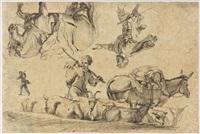 hirten, schafherde, maultier und pferd (studies) by johann rudolf huber the elder