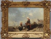 holländische küste mit kindern vor stadtsilhouette by charles hoguet