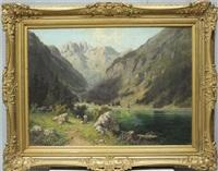 bäuerin an einem gebirgssee in oberbayern by ludwig correggio
