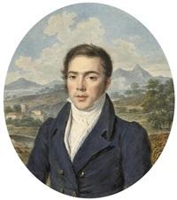 bildnis eines jungen mannes im blauen mantel vor italienischer landschaft by pierre louis bouvier